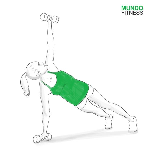 Plancha con rotación, ejercicio con mancuernas