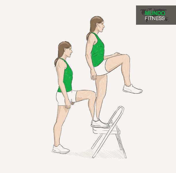 Resultado de imagen de . Step-Up con aumento de la rodilla fitness