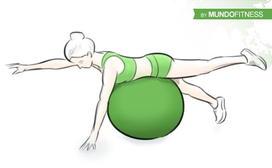 Ejercicios abdominales supermans con fitball
