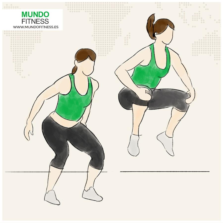 Ilustración de chica haciendo saltos de sentadillas