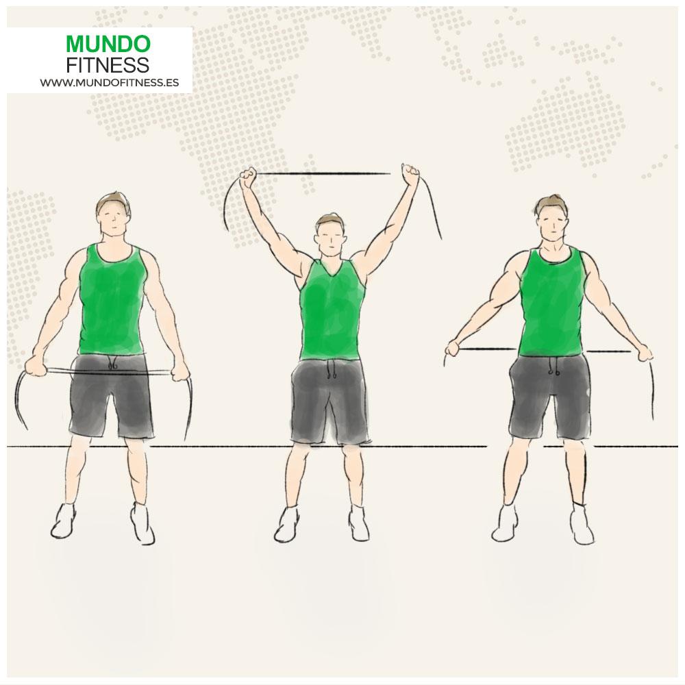 Infografía ejercicio de rotación de hombros con banda elastica