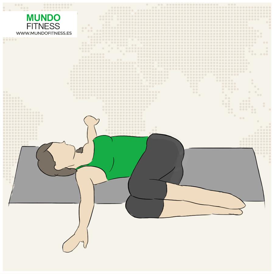 Infografía del la postura de yoga rodillas a un lado