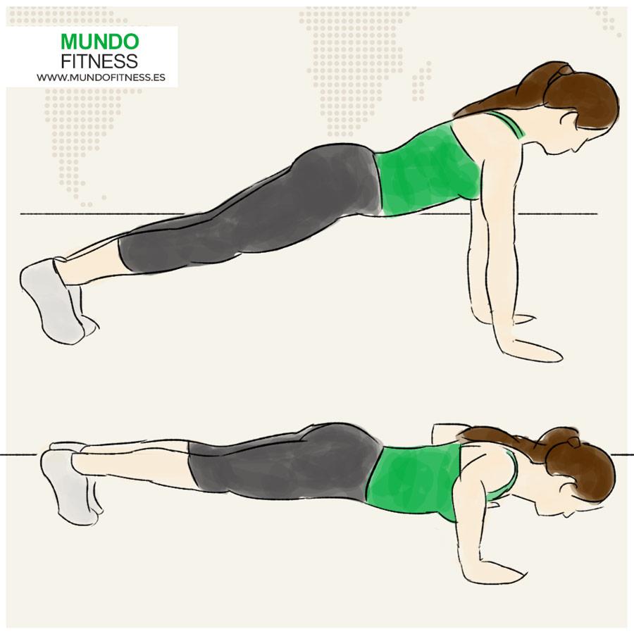 Ilustración chica haciendo flexiones a ambos lados