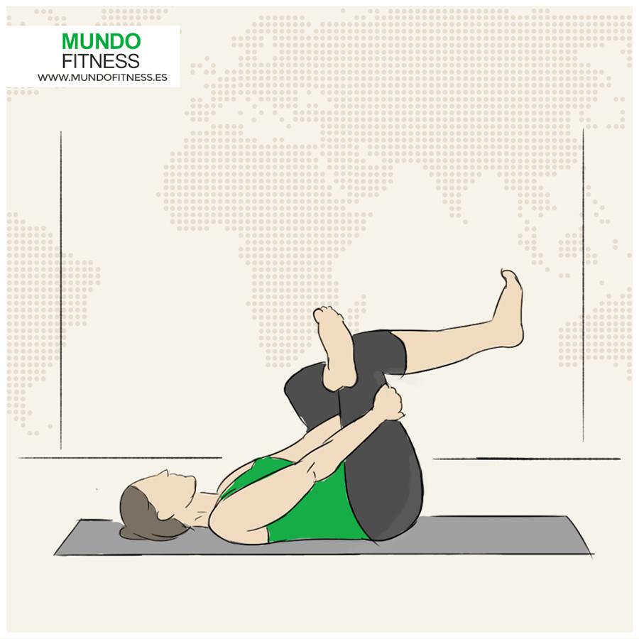Ilustración postura yoga enhebrar la aguja