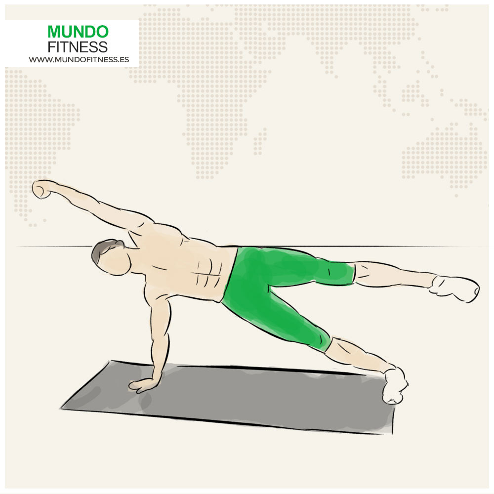 Infografía del ejercicio tabla lateral pierna y brazo