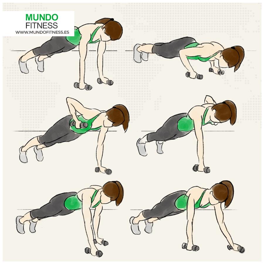 Ilustración chica haciendo el ejercicio de planchas con mancuernas
