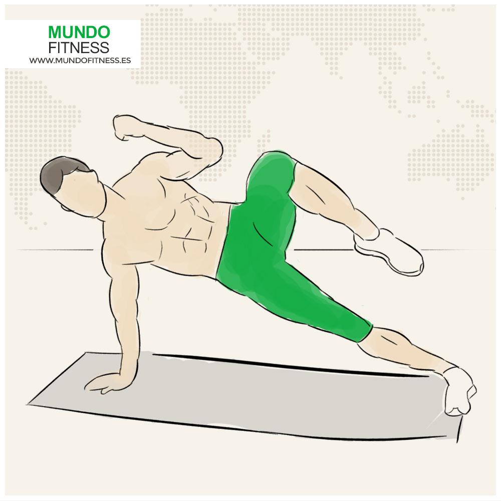 Infografía del ejercicio de tabla lateral con flexión de pierna y brazo