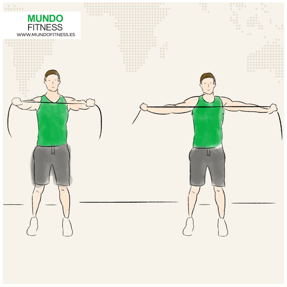 Infografía apertura de brazos con banda elástica