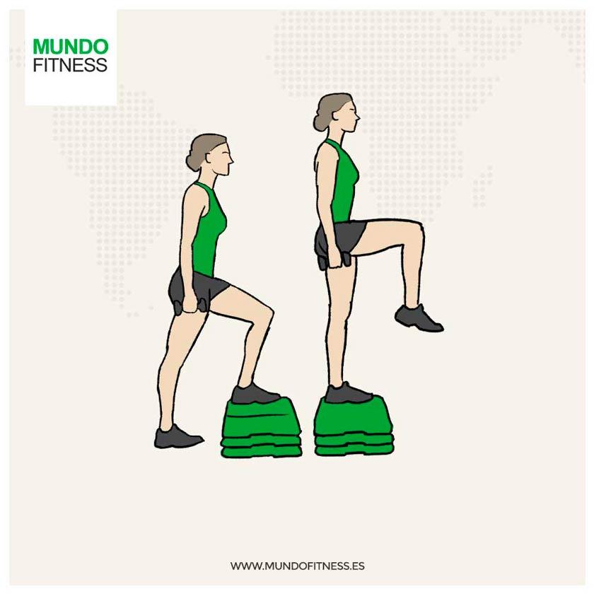 Step-ups con levantamiento de rodilla