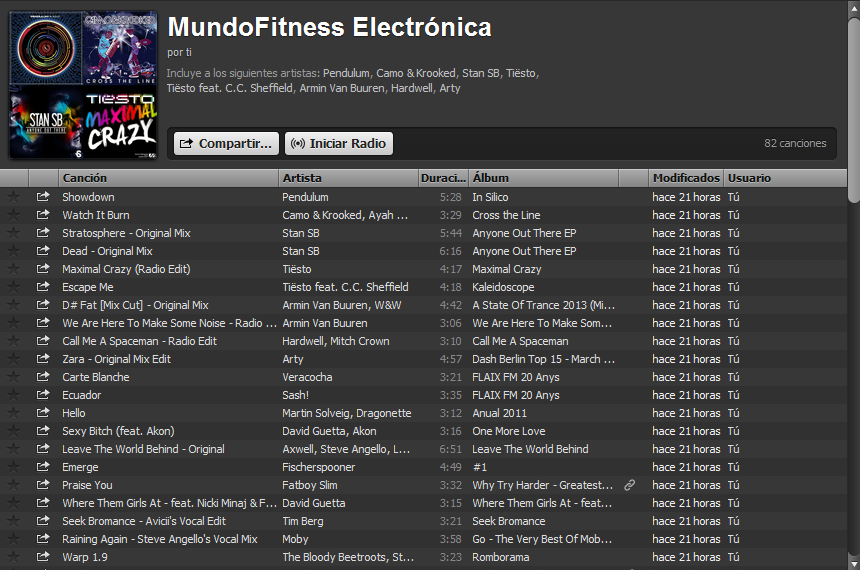 lista musica spotify
