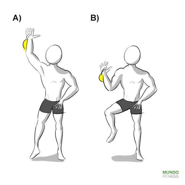 Ejercicio Extensión y flexión de brazo y pierna con peso y Kettlebells