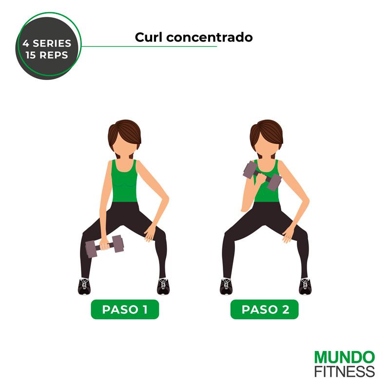 ejercicios para brazos de mujeres curl concentrado