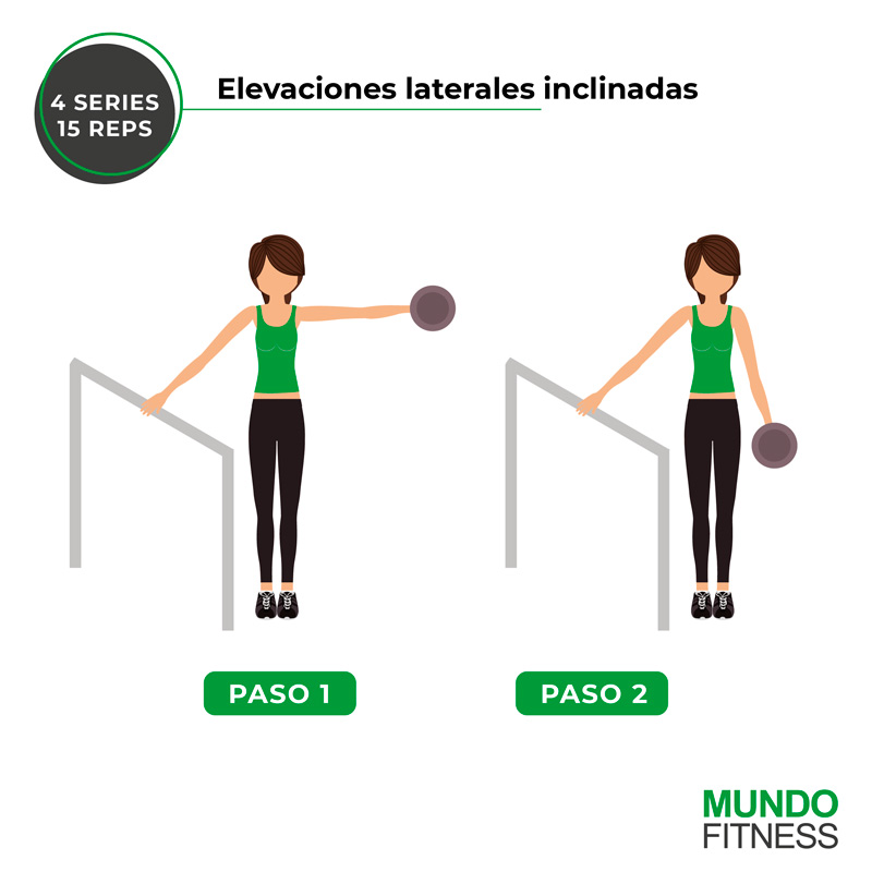 ejercicios para brazos de mujeres elevaciones laterales inclinadas
