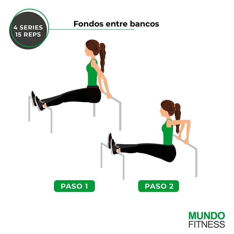 ejercicios para brazos de mujeres fondos entre bancos