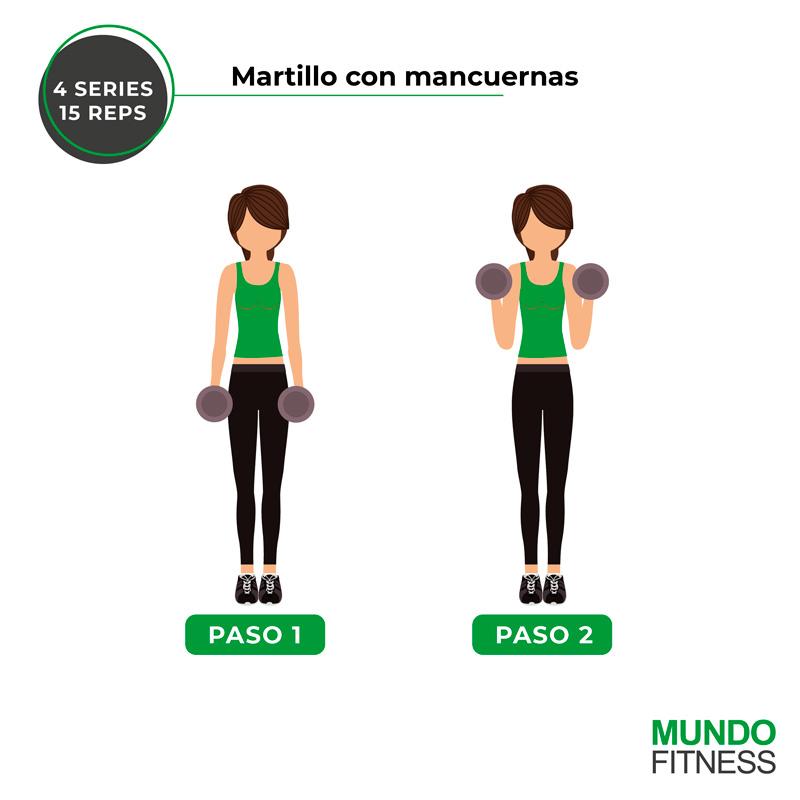 ejercicios para brazos de mujeres martillo con mancuernas