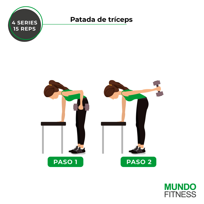 ejercicios para brazos de mujeres patada de tríceps