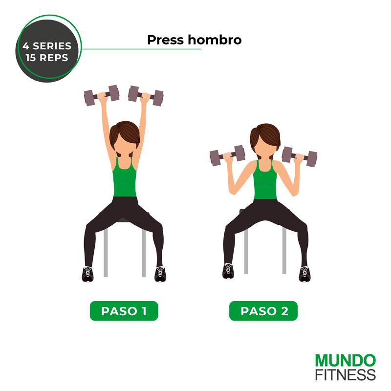 ejercicios para brazos de mujeres press hombro