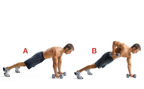 flexion con remo mancuerna
