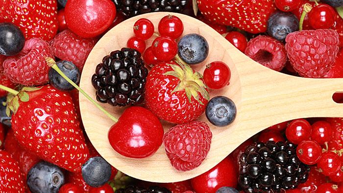 frutas verduras rojas