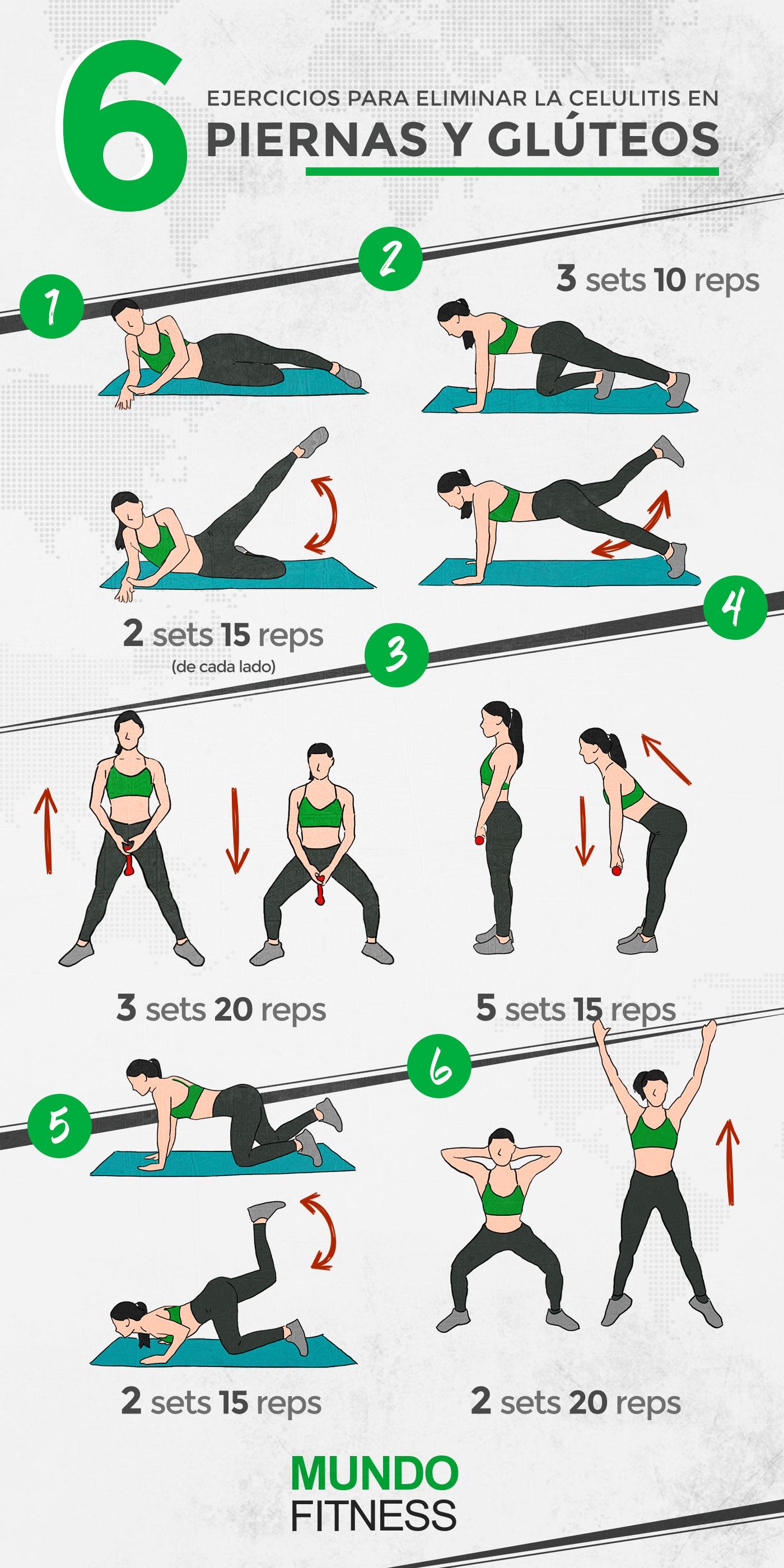 6 Ejercicios Para Eliminar La Celulitis En Piernas Y Glúteos Mundo Fitness