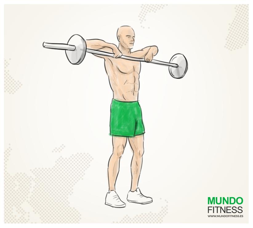 Ilustración de un hombre realizando un ejercicio de remo al cuello